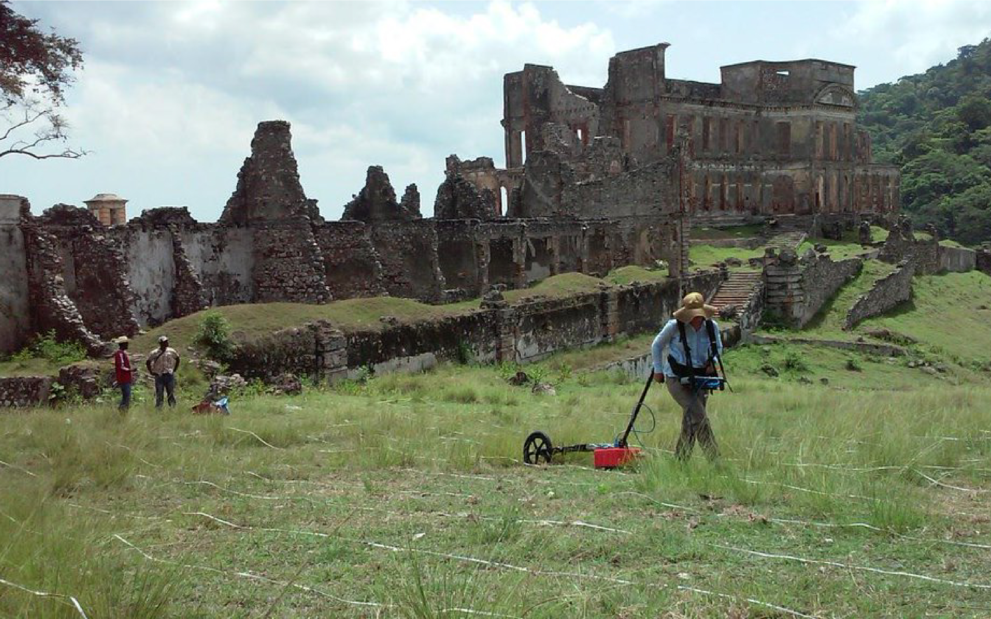 researcher collects data at Sans Souci Palace in Milot, Haiti