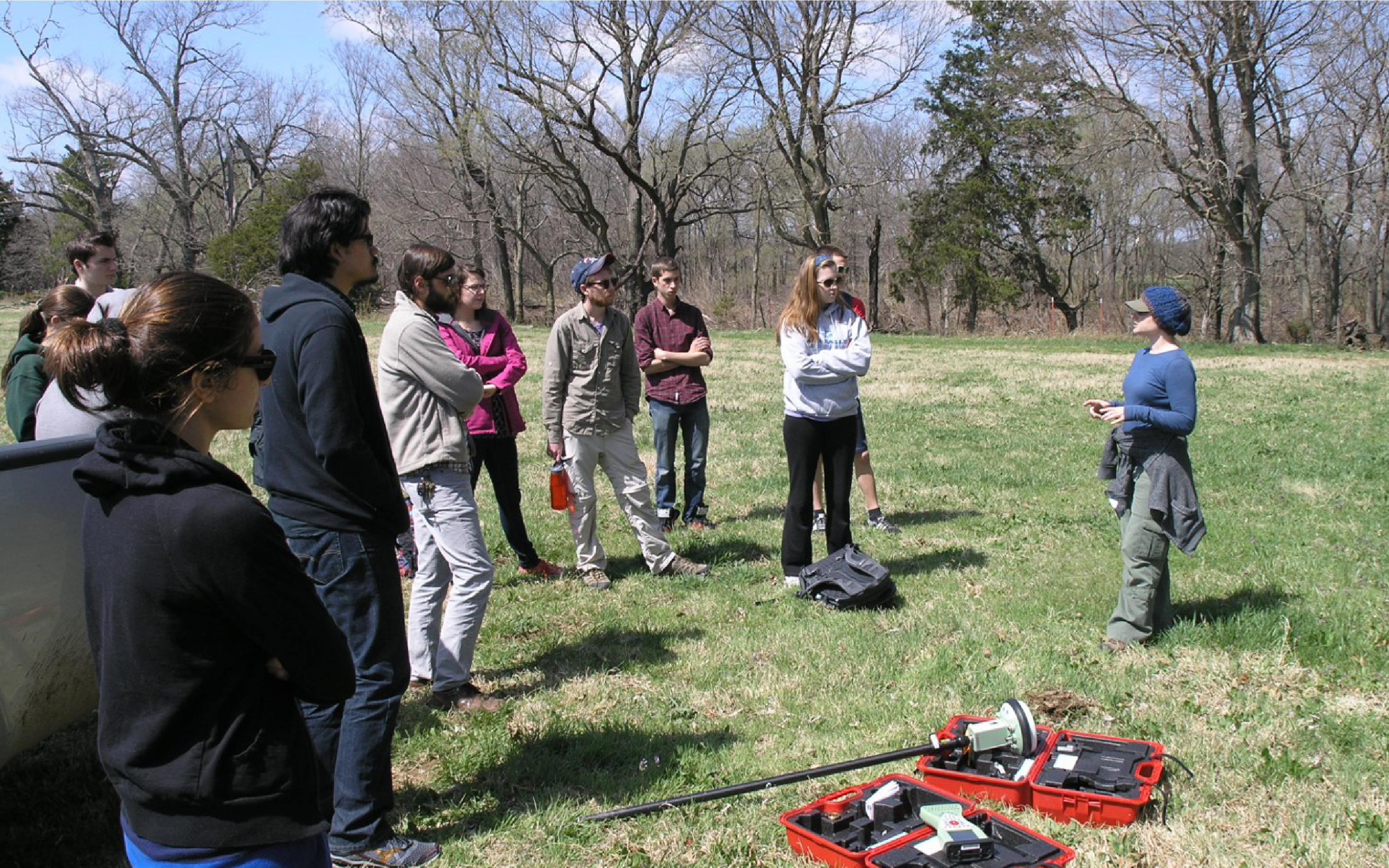 researcher Rachel Opitz instructs class of students on fieldwork techniques